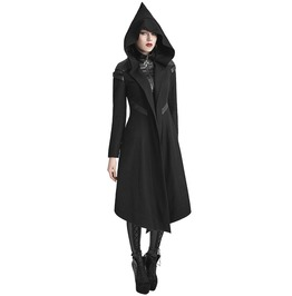Womens Hooded Dieselpunk Witch Coat Long Jacket Black Cyber Goth Long