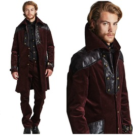Men's Vampire Corduroy Vegan Leather Jacket Coat Goth Victorian Pirate Coat