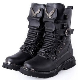 Pu Leather Gothic Punk Lace Up Biker Boots