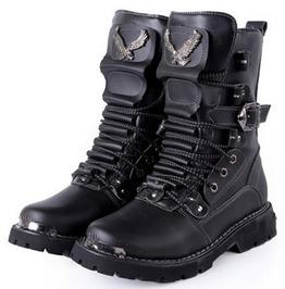 Belt Buckle Military Lace Up Biker Boots