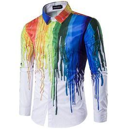 Dripping paint long sleeve dress shirt shirts