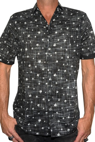 Men's Casual Skull Button Up Short Sleeve Shirt