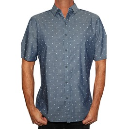 Men's Micro Skull Button Up Short Sleeve Shirt