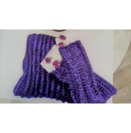 Purple Crocheted Cowl And Fingerless Gloves