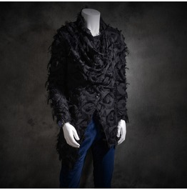 New Arrival Men's Punk Style Black Long Irregular Tassel Pattern Coat