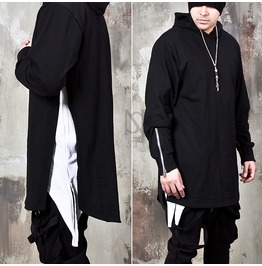 Long Side Incision Accent Hoodie 128
