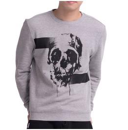 Grey Cotton Sweatshirt Skull Print
