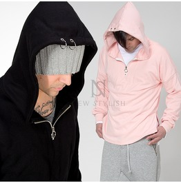 Piercing Accent Side Incision Hoodie 129