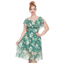Voodoo Vixen Women's Agatha Green Floral Dress
