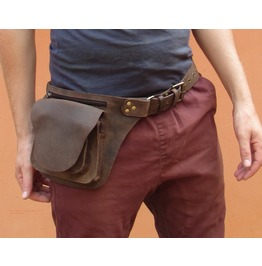 One Leaf Hunter Utility Belt In Rugged Brown Leather