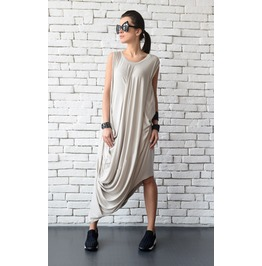 Asymmetric Loose Dress/Beige Plus Size Kaftan/Long Short Maxi Dress