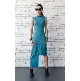 Turquoise Asymmetric Dress/Extravagant Casual Tunic Dress/Sleeveless Top