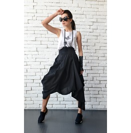 Black Loose Skirt/Linen Casual Skirt/Asymmetric High Waist Skirt/Midi Skirt