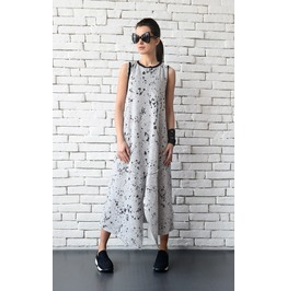 Grey Maxi Dress/Torn Off Effect Loose Tunic/Long Oversize Tunic Dress