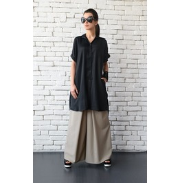Black Loose Maxi Shirt/Asymmetric Casual Tunic Top/Short Sleeve Black Shirt