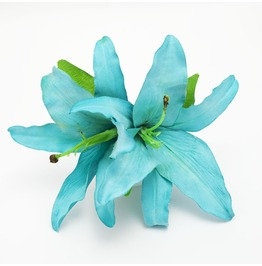 Double Turquoise Lily Hair Flower