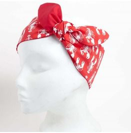 Red Lobster Print Headscarf Red Reverse