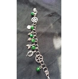 Steampunk Pagan Fusion Charm Bracelet With Green Bell's