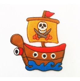 Embroidered Pirate Anime Ship Patch.