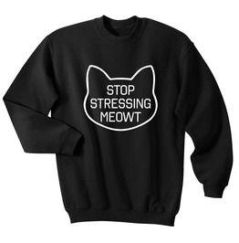 Harajuku Stop Stressing Meowt Sweater Sweatshirt Crewneck