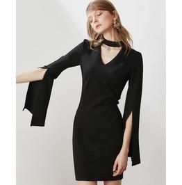 Long Slit Sleeves Short Black Dress