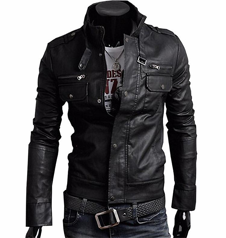 Pu Leather Jacket Menu0026#39;s Brown Dark Brown Black Pu Leather Jacket