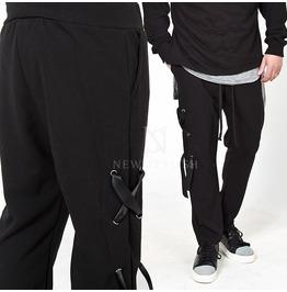 One Side Eyelet Accent Black Sweatpants 246