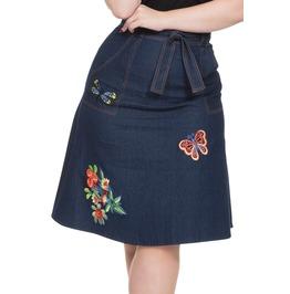 Voodoo Vixen Women's Naomi Denim Embroidered Skirt