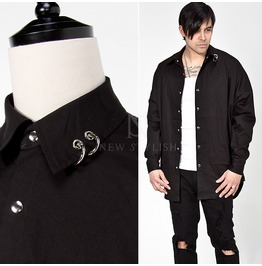 Piercing Collar Accent Black Boxy Shirts 156