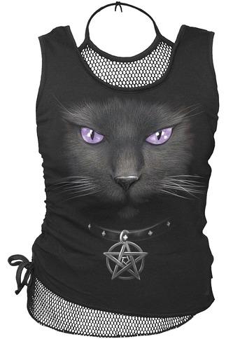 Amethyst Black Cat 2 In 1 Neck Tie Mesh Women's Top