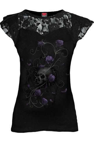 Women's Purple Rose And Skull Lace Layered Cap Sleeve Top