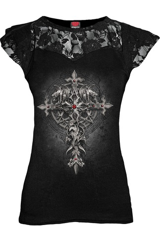 Women's Gargoyle Cross Lace Layered Cap Sleeve Top