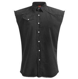 Sleeveless Stone Wash Worker Black Denim Shirt