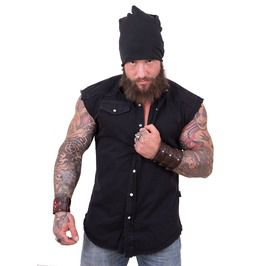Metal Street Wear Black Sleeveless Stone Washed Worker