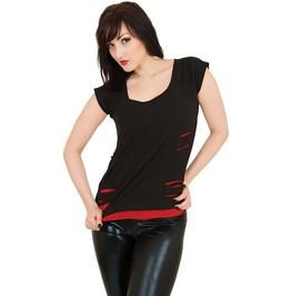 Gothic Punk Rock 2 In 1 Short Sleeve Spaghetti Straps Red Ripped Black Top