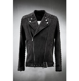Suede Embossing Sleeve Rider Jacket
