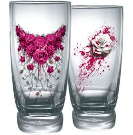 Blood Roses Water Glasses Set Of 2