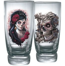Day Of The Dead Water Glasses Set Of 2