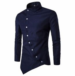 Irregular button designed long sleeve stand collar dress shirt shirts