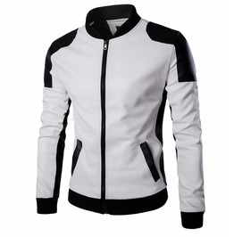 Rock Motorcycle Leather Slim Leather Jacket White / Black