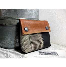 Vegan Leather Purse Makeup Bag Plaid And Tweed