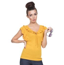 Voodoo Vixen Women's Louis Retro Yellow Top