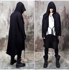 Adjustable Black Long Hood Coat 131