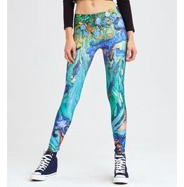 Irises Printed Leggings With High Quality Design