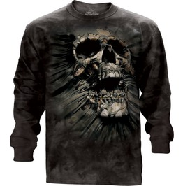 Men New Black Horror Skull Long Sleeve Tee
