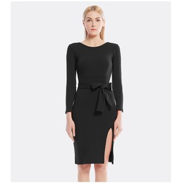 Long Sleeves Bow Tie Slit Side Bodycon Dress