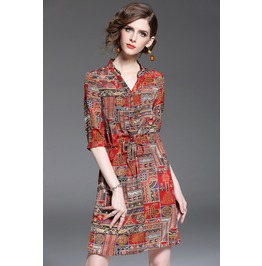 Casual V Neck Printed Bohemian Dress