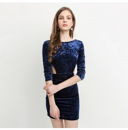 Fashion Sexy Waist Side Hollow Out Women's Velvet Bodycon Dress