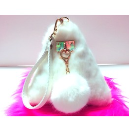 White Faux Fur Triangle Bag