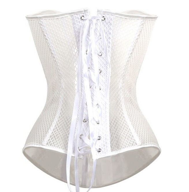 466532427a5 Steampunk Goth Women s Mesh Lace Up Overbust Corset